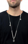 King Baby - Om Symbol Necklace with Silver Beads (K51-5559)