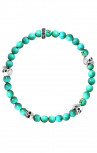 King Baby - 6MM Turquoise Beaded Bracelet With 4 Silver Skulls (K40-5528-TUR)
