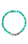 King Baby - 6MM Beaded Bracelet With 4 Skulls Bridge Turquoise (K40-5530-TUR)