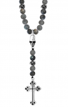 King Baby - Labradorite Rosary with Silver Roses, Skull & Traditional Cross (K56-5053)